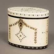 A George III miniature ivory tea caddy Of hinged oval form with pique inlays,