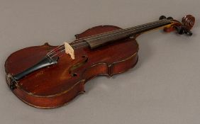 "A late 19th century/early 20th century French 3/4 size violin A label to the interior ""Celebre"