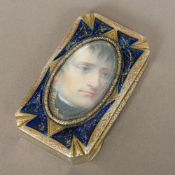 A Continental 800 silver and silver gilt snuff box Inset with a printed portrait of Napoleon within