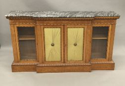 A 19th century variegated marble topped burr maple dwarf breakfront bookcase The shaped topped