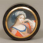 An 18th century portrait miniature inset tortoiseshell snuff box Of circular form,
