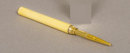 A 19th century silver gilt and enamelled propelling pencil, hallmarked London,