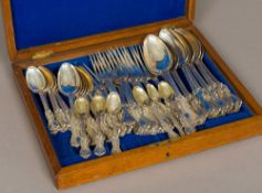 A Victorian silver part canteen of cutlery, hallmarked London, 1842,