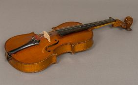 "An early 20th century French 3/4 size violin A label to the interior ""d'apres Antonius Stradivarius"