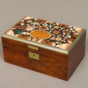 A 19th century French specimen stone mounted rosewood trinket box The hinged rectangular lid