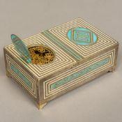 An Art Deco 925 Sterling silver enamel decorated singing bird automaton music box Of rectangular