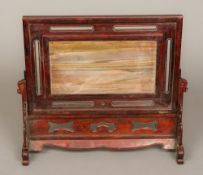 A Chinese hardstone inset wooden table screen Of typical sliding form,