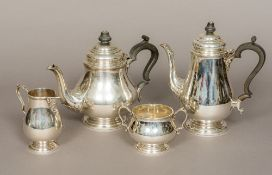A four piece silver tea and coffee set, each hallmarked for Sheffield 1963,