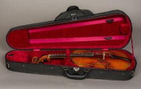 "A late 19th century German full size violin by Louis Lowendahl With a label to the interior ""Copy"