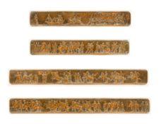 Four 19th century copper frieze panels Each depicting a classical Roman scene,