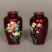 A pair of early 20th century Japanese silver mounted cloisonne vases Each worked with floral sprays