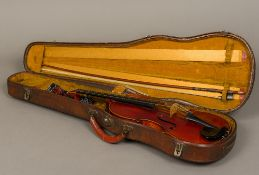 A 19th century violin The interior bearing a paper label inscribed Leon Bernardel, Luthier,