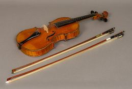 "An early 20th century French 3/4 size violin A label to the interior ""Antonius Stradivarius"