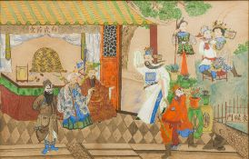 CHINESE SCHOOL (20th century) Actors Performing Before a Courtly Couple Before a Scholars Desk With