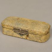 An 18th century Continental shagreen covered box Of lightly domed hinged rounded rectangular form,
