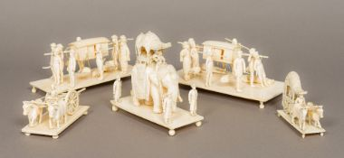 A 19th century Indian carved ivory figural and animalier group Formed as an ornately decorated