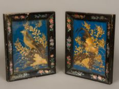 A pair of 19th century Japanese strawwork pictures One depicting a cockerel on foliate rockwork,