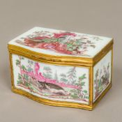 An 18th century French painted milk glass trinket box Of serpentine form,