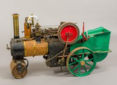 A Scratch Built scale model live steam traction engine 99 cm long.