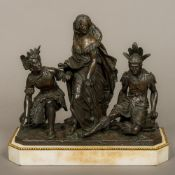 A 19th century patinated bronze figural group Formed as a Western woman between two Native American