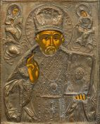 A Russian painted icon Typically worked with plated oklad, variously inscribed. 26.5 x 32.5 cm.