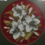 A Victorian bead work floral picture,