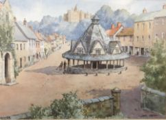 JAMES GREIG (20th century) British, Dunster, watercolour, signed and titled, framed and glazed, 36.