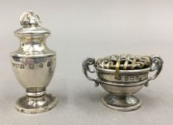 Two miniature silver trophy cups (17 grammes total weight)