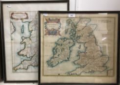 Two hand coloured maps Britannia Romana and Britannia Saxonica,