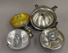 Four various vintage car spotlights/headlamp