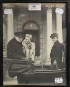 A photograph of Winston Churchill and Mrs Churchill, framed and glazed,