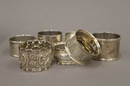 A small collection of silver and plated napkin rings (5 troy ounces silver weight)