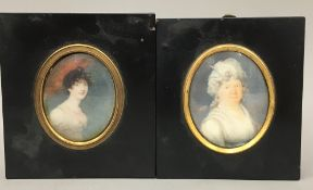 Two 19th century framed miniature portraits each depicting a lady