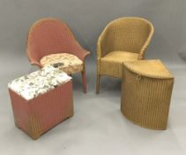 Two Lloyd Loom linen baskets and two Lloyd Loom chairs