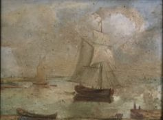 19TH CENTURY SCHOOL , Boats on a River before a Bridge with a Church Beyond and Boats in an Estuary,