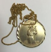 A 9 ct gold St Christopher pendant on chain (9.