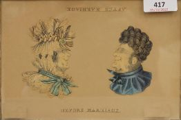 A 19th century maple framed print, entitled Before Marriage After Marriage,