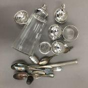A quantity of small silver items, including a small heart shaped pill box, Jersey jug cruets, etc.