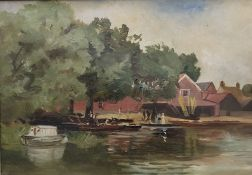 Boats on the Riverbank, oil on canvas,