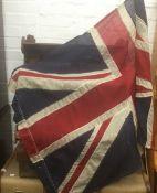 A vintage Union Flag (Union Jack) on a pole. 153 cm x 86 cm.