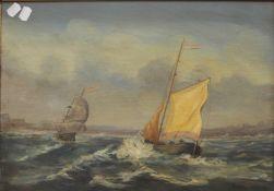 B V DE BURG, Shipping in Choppy Waters, oil on board, signed, framed, 49.