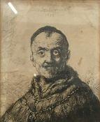 After REMBRANDT (1606-1669) Dutch, Male Portrait Bust, print, dated 1635,
