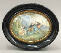 A 19th century miniature on ivory After WATTEAU, depicting courting couples,