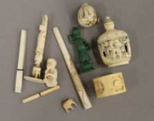 A quantity of various late 19th/early 20th century ivory items, etc.