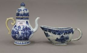 Two 18th century Chinese porcelain blue and white European shaped pieces,