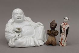 An 18th century Chinese blanc-de-chine figure of Hotei,