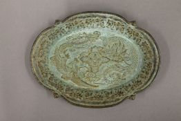 A small Chinese bronze oval tray