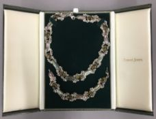 A 925 silver cabochon amber and abalone necklace, together with a matching bracelet,