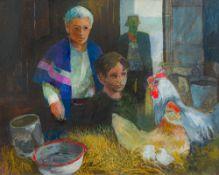 KENN BURROWS (20th/21st century) British (AR) Cockerel and Hen, mixed media on board, framed,