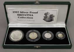 A 1997 silver proof Britannia four coin collection